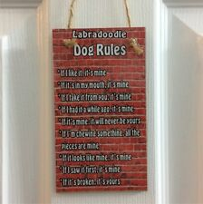 LABRADOODLE DOG RULES - If I Like It, It's Mine Wall/Door MDF Plaque