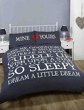 So Sleepy Heart Scroll Duvet Quilt Cover Bedding Set & Pillowcases Mine Yours