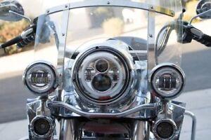 "7"" LED Daymaker Headlights 2x4.5"" Fog Lights With Halo Rings For Harley Davidson"