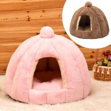 Large Cat Bed Cave Small Wool Cozy Pet Igloo Bed Winter House Nest Kennel M L
