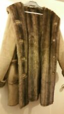 NEW DENNIS BASSO REVERSIBLE  FAUX SHEARLING /FUR COAT WITH HOOD STUNNING COAT