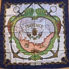 Authentic Vintage Hermes Provence Blue Silk Scarf Hugo Grygkar Great Condition