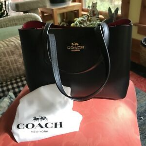 NWT Coach Leather Avenue Carryall Satchel Bag F48733 Black Red Ret. $398