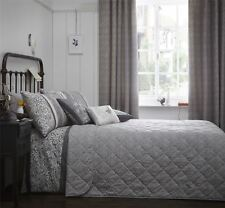 LEAVES CHARCOAL GREY QUILTED BEDSPREAD THROW 229CM X 195CM