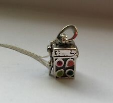Sterling Silver and enamel prayer box pendant, 18 inch silver 925 chain