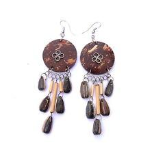 Ohrringe aus KOKOS Ohrschmuck Haken aus Neusilber Holz Goa Hippie Beach NEU