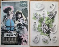 French Fantasy 1906/1912 PAIR Easter Postcards - Joyeuses Paques, Eggs