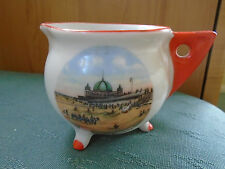 RHYL SANDS & PAVILLION PICTURE WALES - ART DECO JUG WITH ORANGE - CRESTED CHINA