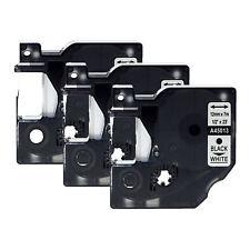 3PK 12mm Black on White 45013 Tape For Dymo D1 Label Maker LabelManager 160 200