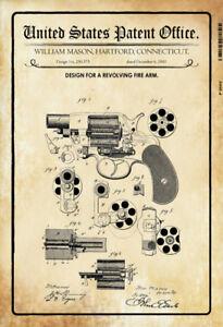 US Patent Revolver Motiv 2 1881 Blechschild Schild Metal Tin Sign 20 x 30 cm