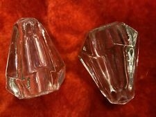 2 Antique Victorian Etched Cut Glass Crystal Octagon Door Knobs? Architectural