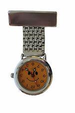 Carita De Metal Plateado túnica Broche fob Reloj Para Enfermeras médicos Batería Extra