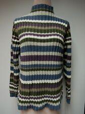 Vtg Jones New York Cotton Knit Top Mock Turtleneck Olive Amethyst Blue Japan M