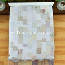 Queen Patchwork Kantha Quilts Vintage Silk Sari Bedspread Embroidered Bed Cover