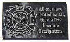 Firefighter gift plaque laser engraved black marble