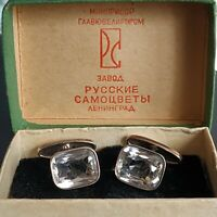 Vintage silver 875 cufflinks with natural mountain rock crystal USSR 1960s