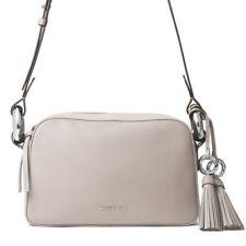 Michael Kors $298 NWT Medium Leather Shoulder Bag Cement Grey Tassel Key Clip