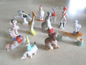 Set of 12 Vintage Bisque Birthday Cake Circus Animal Clown Candles Holders Germa