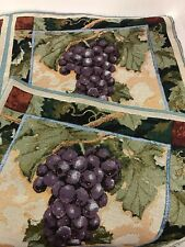 "Purple Cabernet Grapes leaves Tapestry Fabric 18"" square Pillow Top 2 Panels"