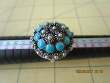 TAXCO MEXICO STERLING.925 SLEEPING BEAUTY TURQUOISE DOME COCKTAIL ADJ RING