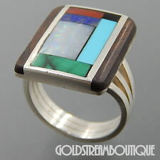 ZUNI 925 SILVER OPAL TURQUOISE WOOD CORAL MALACHITE ONYX LAPIS INLAY RING #3971