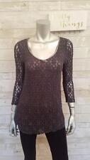Custo Barcelona Mixed Media Grey Lace & Metallic Stripe 3/4 Sleeve Knit Top Sz 2