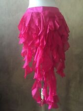 Hot Pink Tie On Burlesque Belly Dance Bustle Train Curly Chiffon