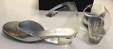 17S New Chanel  Crinkle Silver Leather Transparent Jelly Sandals Shoes 38.5