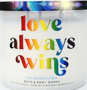Bath & Body Works Sun Washed Citrus Rainbow Glass Style Jar3 Wick Candle