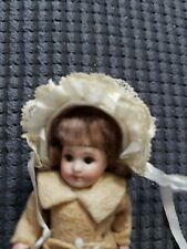 Fancy Doll Hat cream + pale blue Silk & Lace for Vintage or Antique Bisque Doll