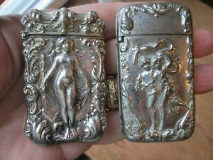 TWO  Antique -  MATCH SAFES - ART NOUVEAU w/ NUDE WOMEN  #8 - 1 of 17