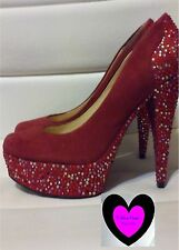 💜 ENZO ANGIOLINNI 💜  7 fits 6.5 RED LEATHER SUEDE SPARKLY RHINESTONE HEELS