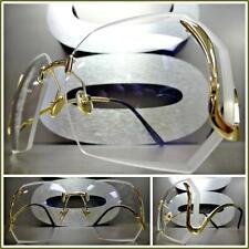 CLASSIC VINTAGE RETRO Style Clear Lens GLASSES Upside Down Gold Fashion Frame