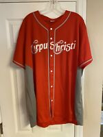 NWOT-Corpus Christ Hooks Baseball Jersey Red Adult Extra Large XL Blank Back