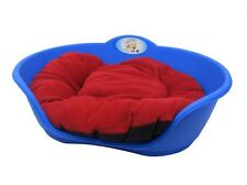 Heavy Duty ROYAL BLUE Pet Bed With RED Cushion UK MADE Dog Or Cat Basket