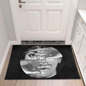 Fornasetti Style Big Eye Lady Skull Mat Classical Beauty Face Carpet Rug Doormat