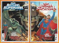BATMAN SUPERMAN #1 A & B CONNECTING VARIANT SET Batman Who Laughs 2019 DC NM- NM