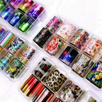 10Pcs Holographic Nail Foil Set Transparent Starry Sky Art Transfer Sticker Tips