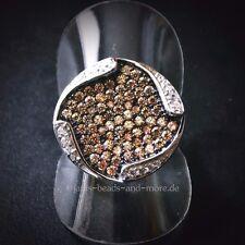 Padparadscha Quarz Weißtopas Cluster Designer Ring 925 Silber rhodiniert 19,1 mm