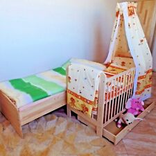 Baby Bed Cot Complete Set 120 X 60 Cm Mattress Solid Wood Extra Brett