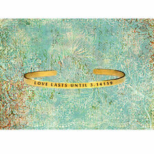 Love Lasts Until 3.14159 (Forever) - Pi Geeky - Cuff Bracelet Jewelry Hand Stamp