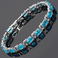 Charming! Aquamarine 18K White Gold Plated Gp Tennis Bracelet Jewelry Gift