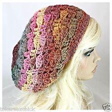 NEW Handmade Women's SLOUCHY Beanie Tam Hat WOOL BLEND Amazing STRAWBERRY FIELDS