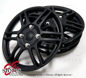 "4pc Set 14 inch Wheel Rim Skin Cover Hubcap Hub caps (14"" Matte Black Style#004)"