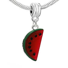 Resin Watermelon Red Fruit Dangle Charm Pendant for European Snake Chain Bracele