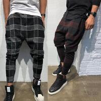 Men Stylish Loose Plaid Pant Men Casual Harem Pants Joggers Trousers Men Hip Hop