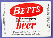 BETTS  by Colonial LIGHT BEER label NJ 12oz
