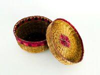 Vintage 1960s Native American Indian Woven Northwest Coast Lidded Basket