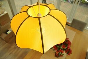 Contemporary Style Pumpkin Round Lampshade Ceiling Hanging Shade Yellow Silk