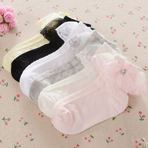 Girl Baby Toddler Kids Heart Gem Lace Ankle Wedding Socks 9 months- 8 years